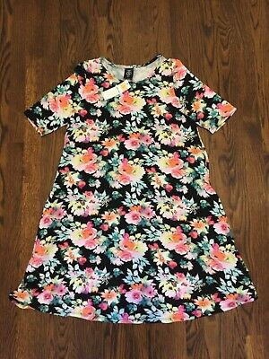 Agnes and Dora Swing Tunic Black Pink Floral Pockets Sz Small NWT