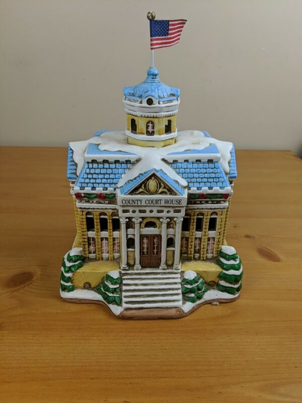 Vintage Lefton China Colonial Village Lighted County Courthouse + DEED CWD00233