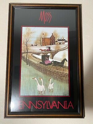Beautiful P. Buckley Moss Pennsylvania Poster Framed Picture Decor - $100.00
