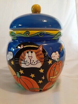 Candace Reiter Catzilla Blue Ceramic Cat Halloween Canister Cookie Jar Treat Hol