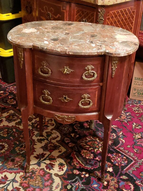 Antique French Inlaid Marble Top DEMI LUME CHEST  COMMODE w/Brass Ormolu