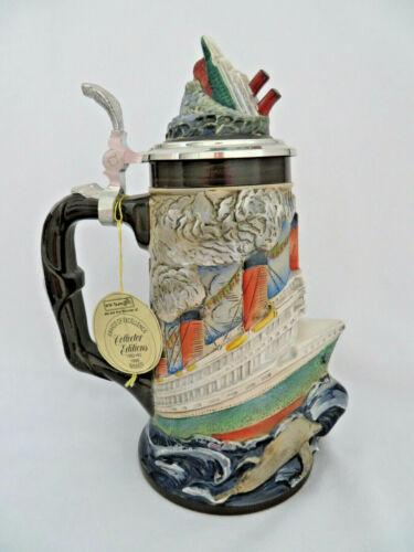 Limited Edition German Titanic Beer Stein Tankard w/ Pewter Lid ~ Orig Tag ~ New