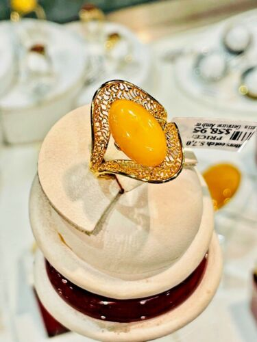 14K Gold Filled Genuine Baltic Amber Ring Russian Butterscotch Egg Yolk 老琥珀