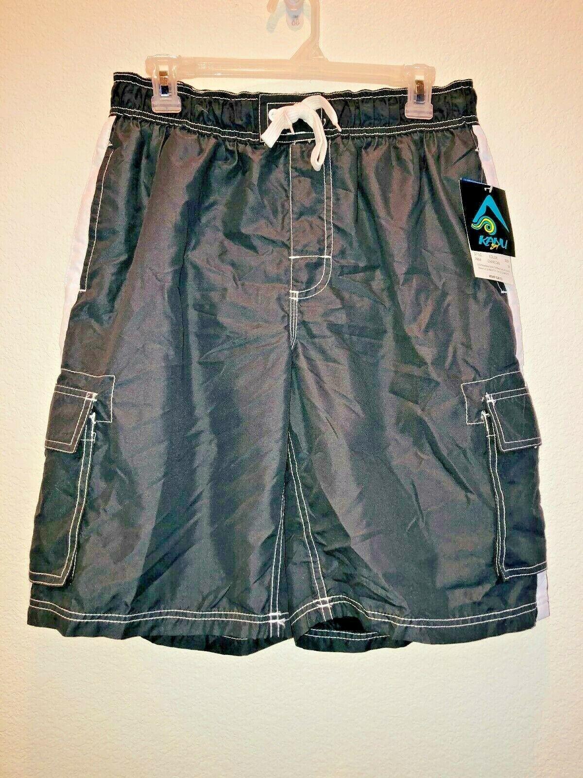 Mens Kanu Surf Board Shorts - Size M - Charcoal Grey - UPF P