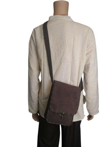 LARP Leather Suede Shoulder Bag Medieval Black and Brown L & M Size Reenactment