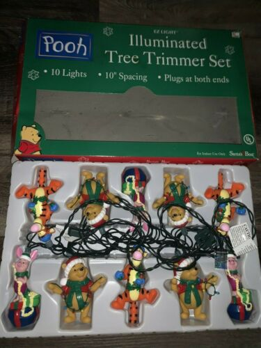 Winnie the Pooh ~ Christmas Light Strand Plastic Novelty 10-Lights Covers 1990
