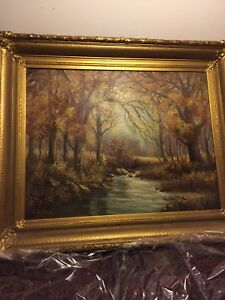 Vintage large oil painting on canvas