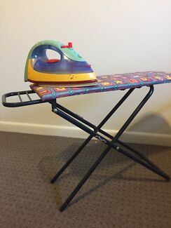 Children's ironing board and iron