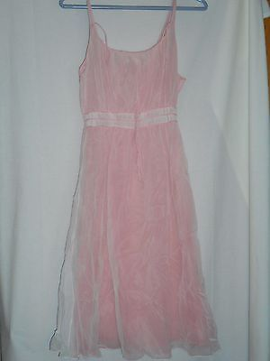 Vintage Pink Sheer White Nylon Lingerie Negligee Size 36