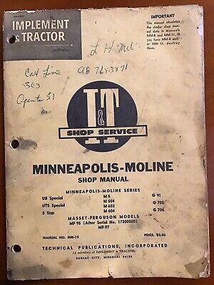 Vintage It Shop Manual -minneapolis Moline Ub Uts 5 Star M5 M504 M602 M604 Gvi