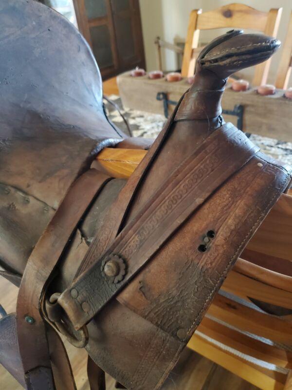 "Antique A Fork Saddle  High Back - 13"" Barn Find Collectable western"