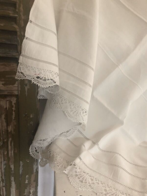 Art Nouveau French FIL OF LINEN sheet FILET LACE openworks WASHED c1920