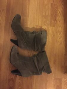 Grey genuine leather boots