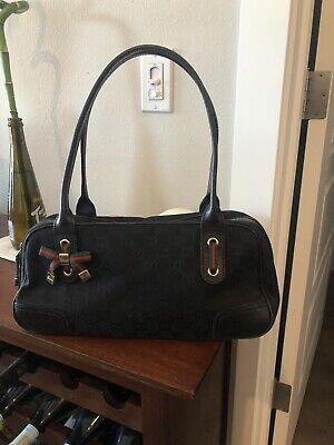 SALE!!Authentic Vintage Black Signature Gucci Handbag / Purse / Bag