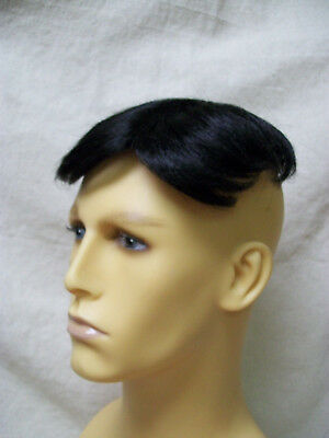Black Toupe Hairpiece Partial Wig Bald Patch Ol Man Grandpa Gramps Toopay Toupee