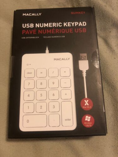 Macally Wired USB Numeric Keypad Keyboard for Laptop, Apple
