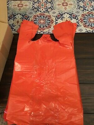 T-shirt Bags 500ct Large 16 24mic Red Grocery Shopping Bags W Handle 12x6.5x21