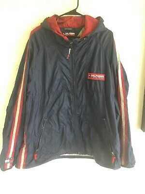 Vintage Tommy Hilfiger Athletic Gear Reflective Sz XL Wind Rain Full Zip Flag