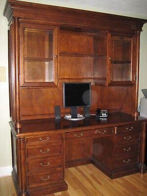 Safavieh Executive Credenza Desk Hutch Glass Doors Cherry Wood Originally -