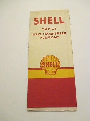 Vintage 1940's Shell New Hampshire Vermont Oil Gas Service Station Road Map