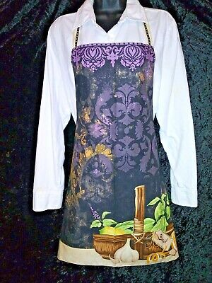 Apron, Wine and Herbs Cooking, Kitchen, Cafe Restaurant Bib Lined Gothic Decor