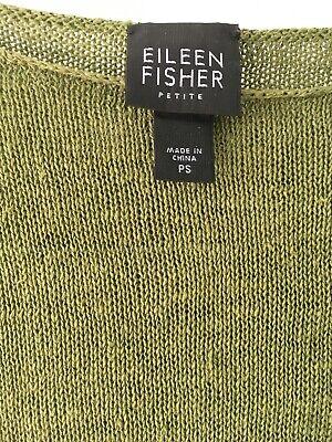 Eileen Fisher Green Linen Pullover Sweater Women's Size Petite Small Lightweight