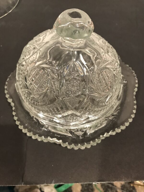 Vintage Pristine Cut Chrystal Glass With Dome Lid