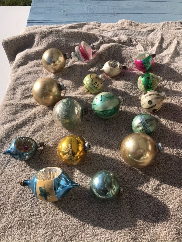 15 Antique Vintage Christmas Tree Ornaments Glass Mercury Indents Sparkly  Retro