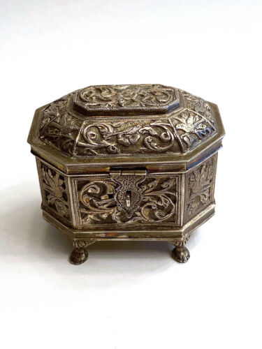 Antique 900 Silver Chinese English American Engraved Bird Tea Caddy Footed Lock