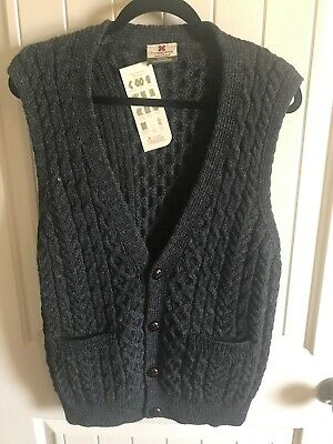 New CARRAIG DONN Charcoal Gray WOOL V-Neck 4-Button SWEATER VEST Men L Gray Wool V-neck Sweater
