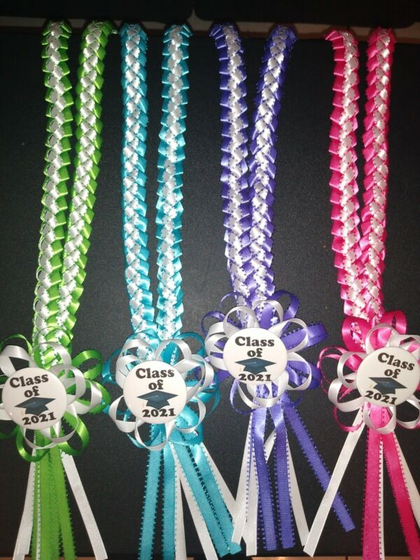 Graduation lei 2021 purple, turquoise,apple green,hot pink/white choice of one
