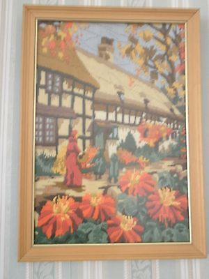 """""""AUTUMN"""" Completed Tapestry Long Stitch Picture framed"""