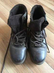 Brown leather boots, man, size 9.5