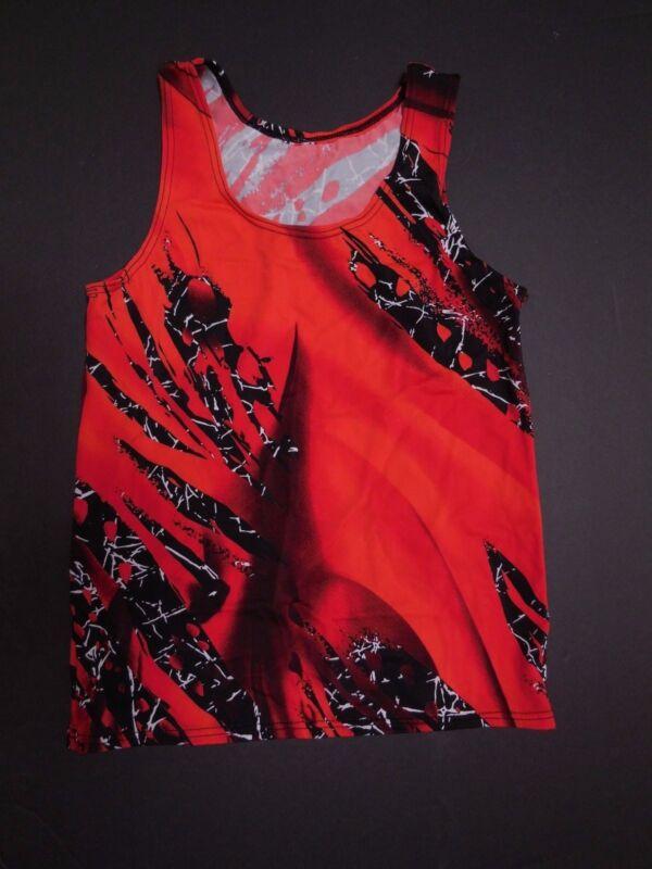 NWOT Sleeveless tank shirt Boys/Mens Sizes Red Black Dance Hiphop Lycra