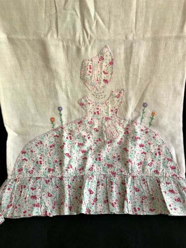 A Pair of Antique Linen Pillowcases Girl with Bonnet and Skirt Embroidered