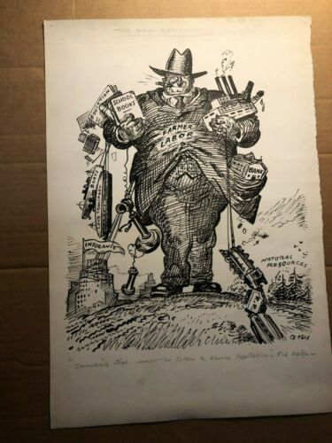Rare Original Published Signed Illustration Art Oscar Cesare 30s Capitalism MN