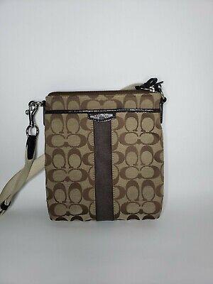 Coach Signature Cross Body Messenger Handbag Purse- Brown/Tan