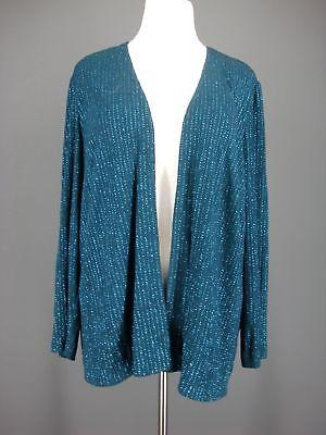 ALEX EVENINGS Jacket 16W Teal Striped Slinky Travel Knit Open Front Sparkle