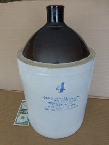Antqe Old Kentucky Whiskey Co, LIQUOR DEALERS DETROIT,MICH.Stoneware,1890s, 4Gal