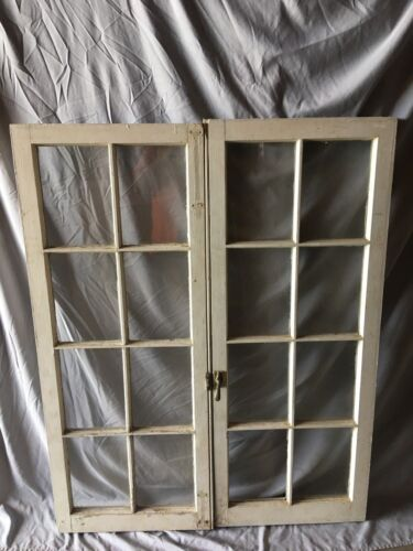 Pair Antique 8 Lite Casement Door Windows Cabinet Shabby Vtg Old   62-18C