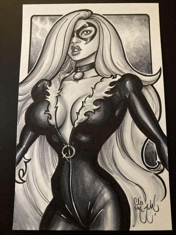 BLACK WIDOW SPIDER-MAN MARVEL COMICS Original Art  Illustration Chris McJunkin