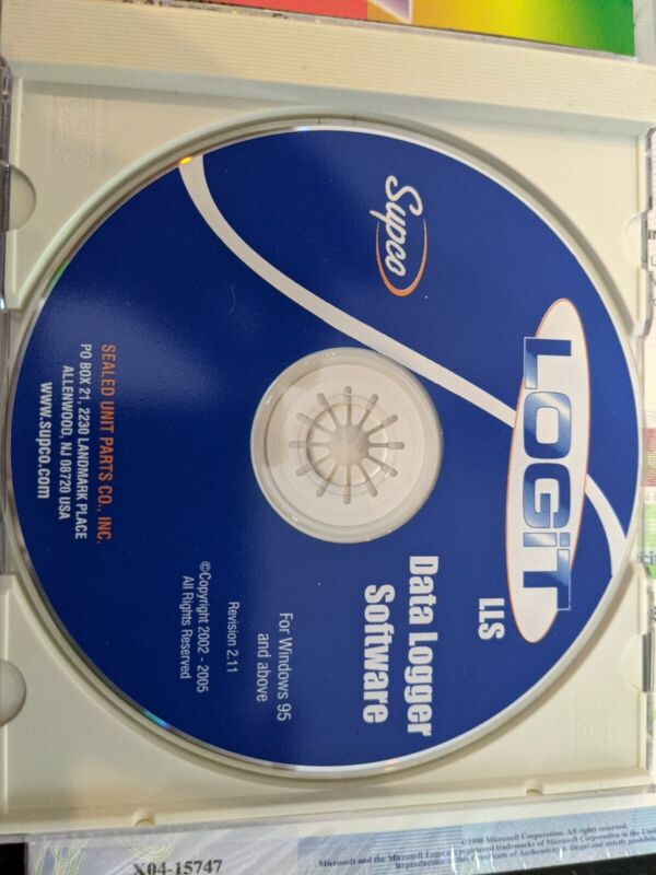Supco Logit lls Data Logger Software CD ROM Revision 2.11 For Win95 and Above