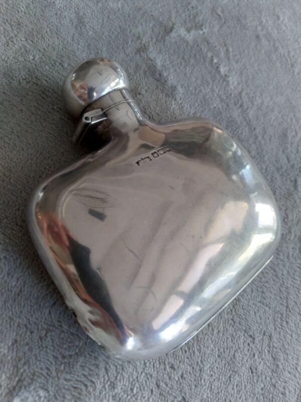 Solid Sterling Silver Flask James Deakin & Sons
