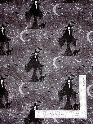 Halloween Witch Moon Star Bat Web Cotton Fabric Northcott Frightful By The Yard
