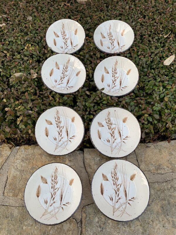 """8 MIDWINTER Stonehenge Wild Oats Soup / Cereal Bowls England 6 1/2"""" Pristine"""