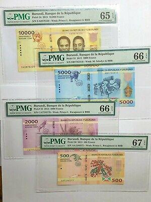 2015 Burundi 500, 2,000, 5,000 & 10,000 Francs; Pick ## 50 & 52-54 PMG 67-65 EPQ
