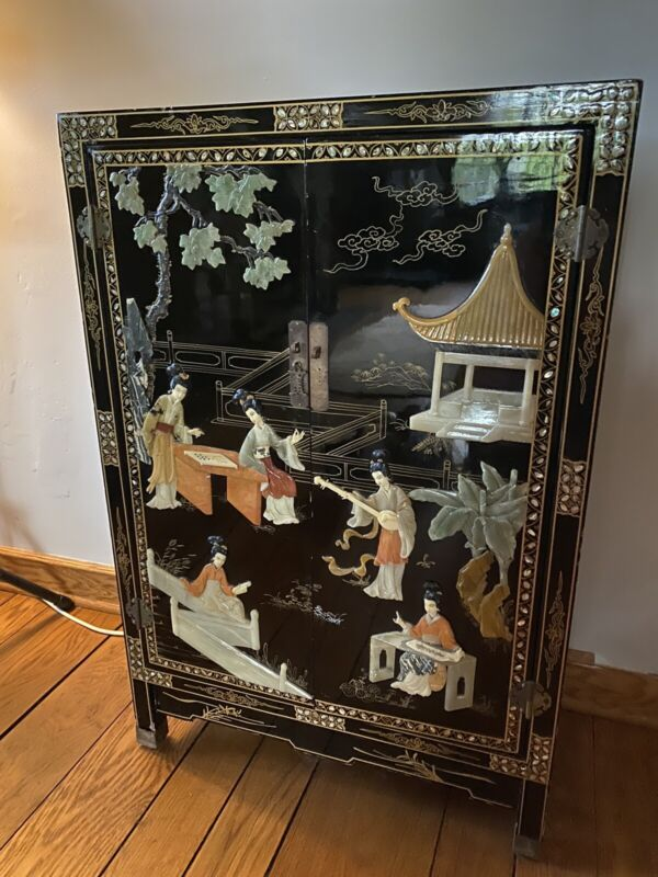 Chinese cabinet black lacquered mother of pearl inlay overlay