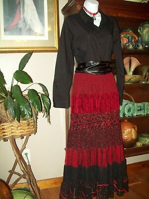 4 pc 1900's Victorian Costume M Goth  Music Man Skirt, Blouse Choker Sash
