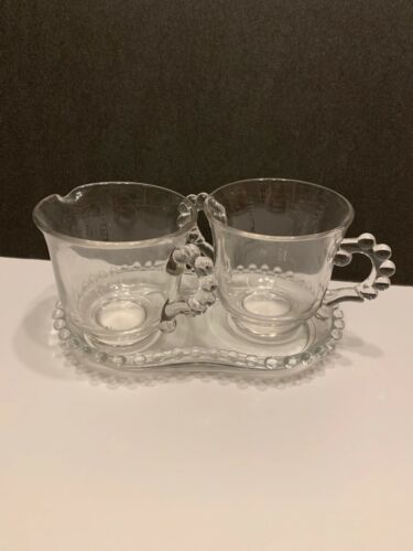 Vintage Imperial Glass Company Candlewick Creamer and Sugar Bowl on a Tray