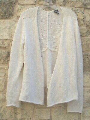 EILEEN FISHER Open Front White Cotton & Linen Knit Cardigan Sweater Large EUC